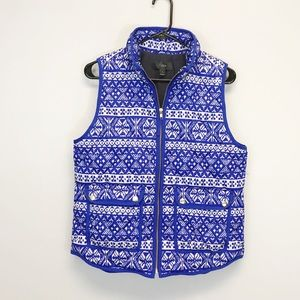 J. Crew | Quilted Fair Isle Blue Printed Vest